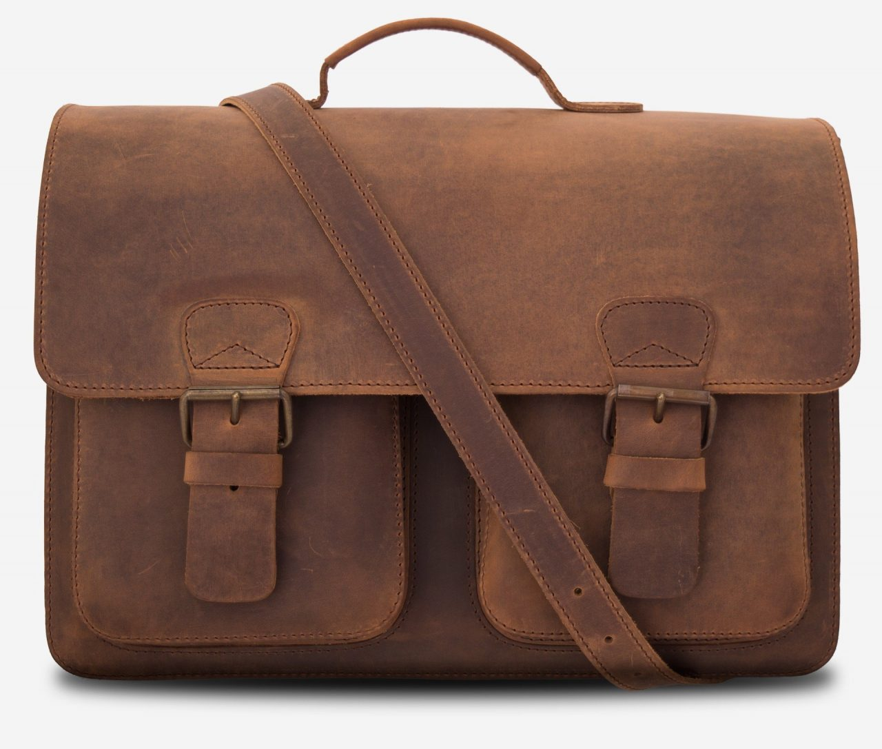 Grand cartable de professeur en cuir vintage marron.