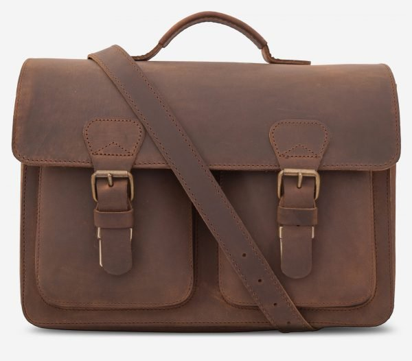 Cartable professeur en cuir marron.