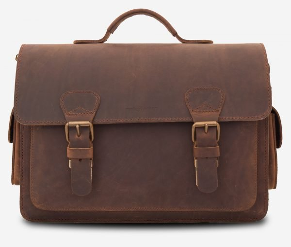 Beau sac photo en cuir marron.