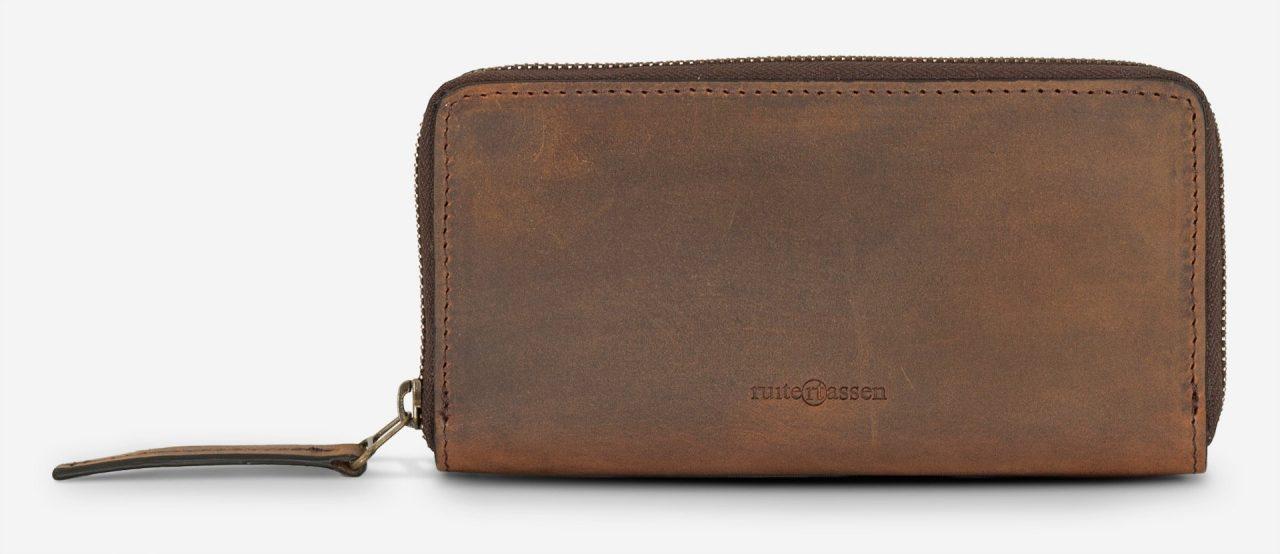 Grand portefeuille zippé en cuir.