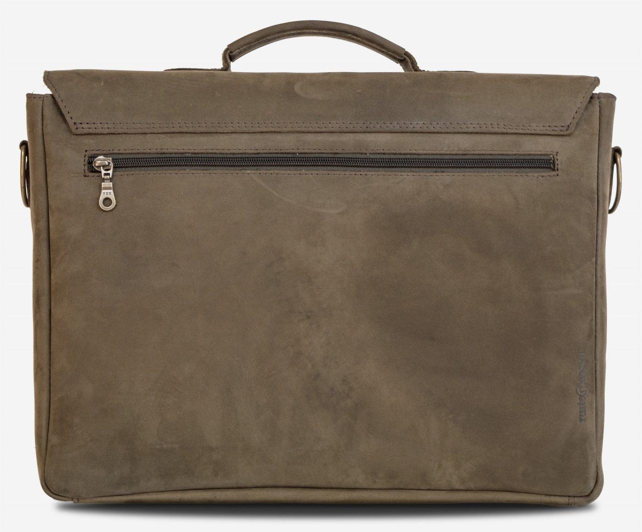 Cartable cuir souple reporter avec poche dans le dos.
