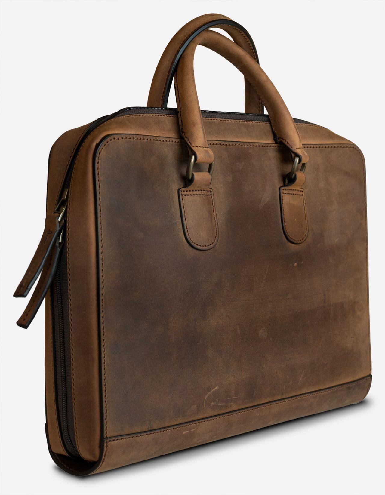 Sac en cuir brun professionnel.