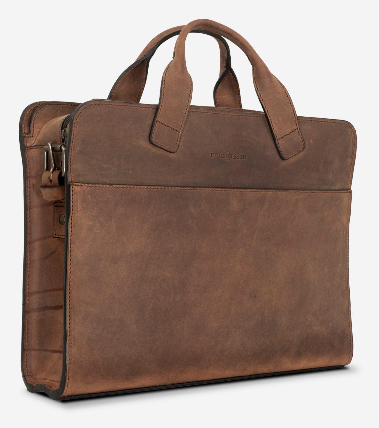 Sacoche professionnelle en cuir brun de côté.