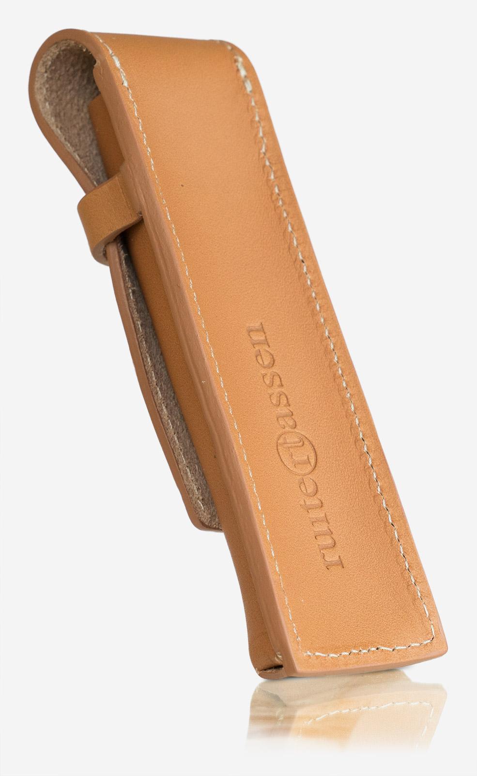 Étui à stylo double en cuir beige Ruitertassen.