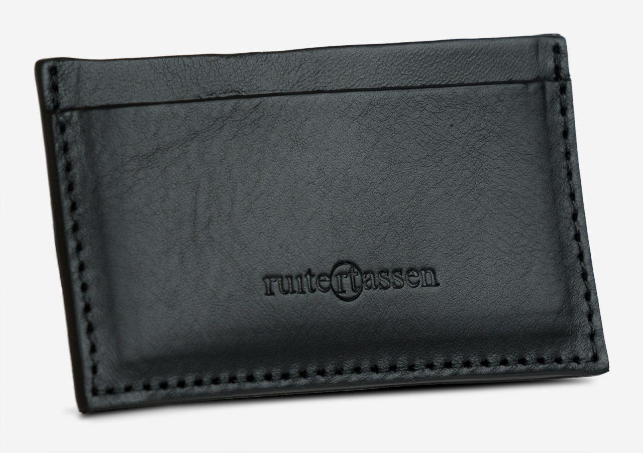 Porte-cartes en cuir noir de face.