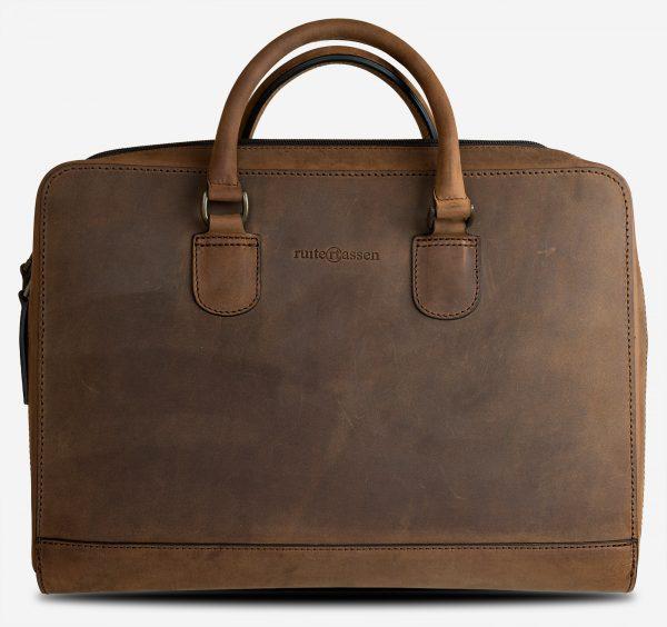 Sac à anses professionnel en cuir brun.