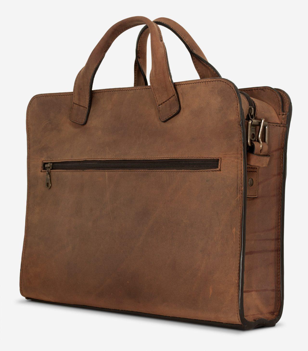 Sacoche professionnelle en cuir brun de dos.