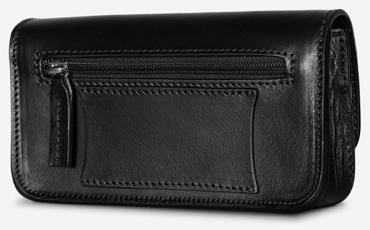 Sacoche en cuir noir avec passant pour ceinture de 35 à 40 mm.