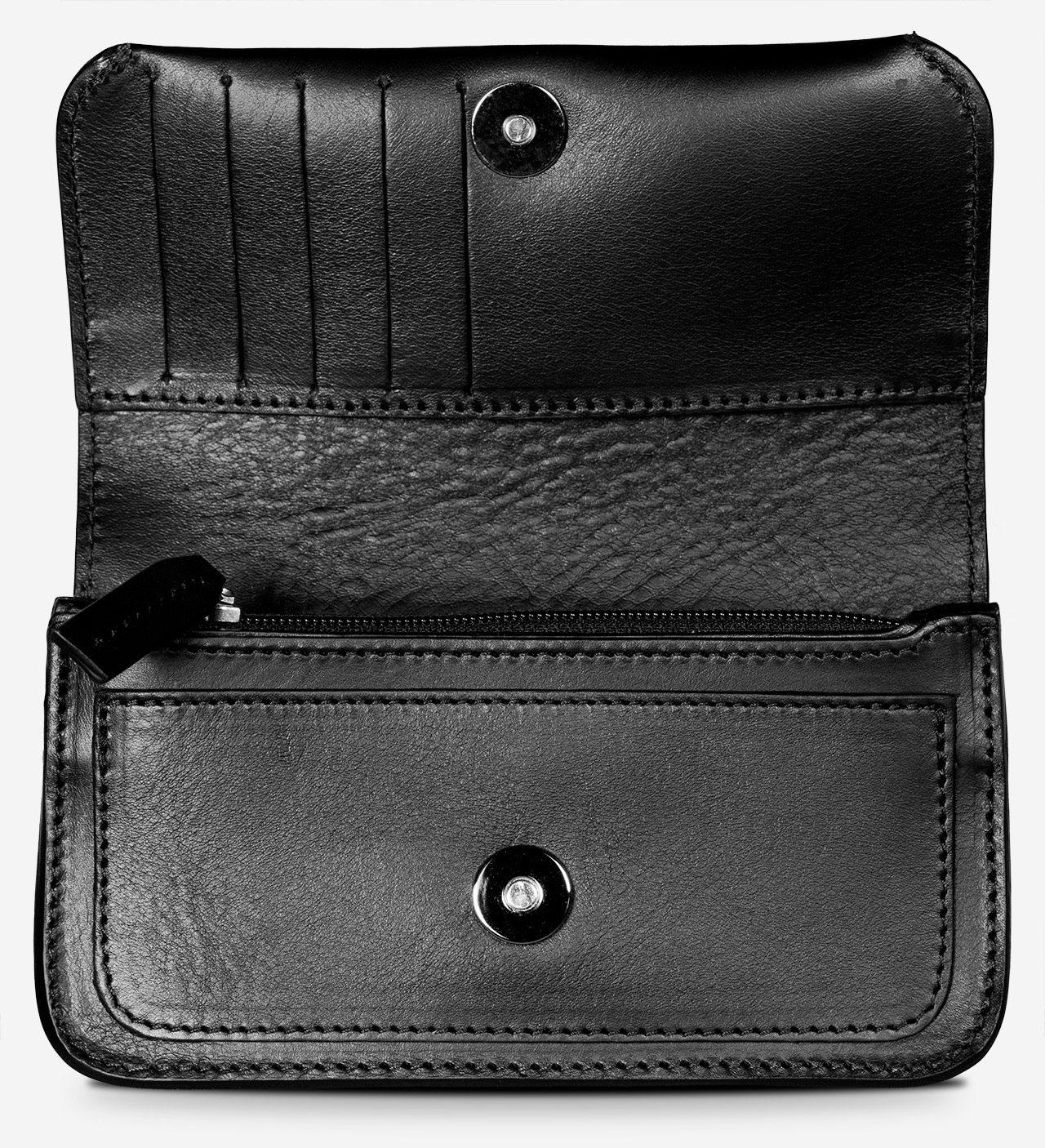 Sacoche ceinture en cuir noir avec 5 compartiments et slots pour cartes.