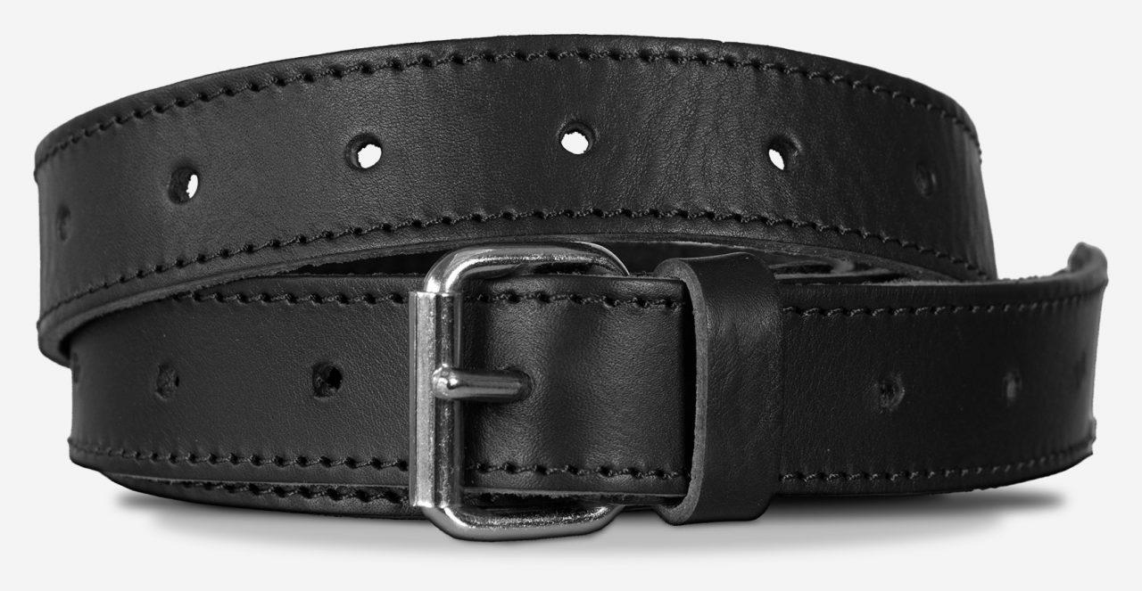 Bandoulière solide en cuir noir avec boucle à aiguille.