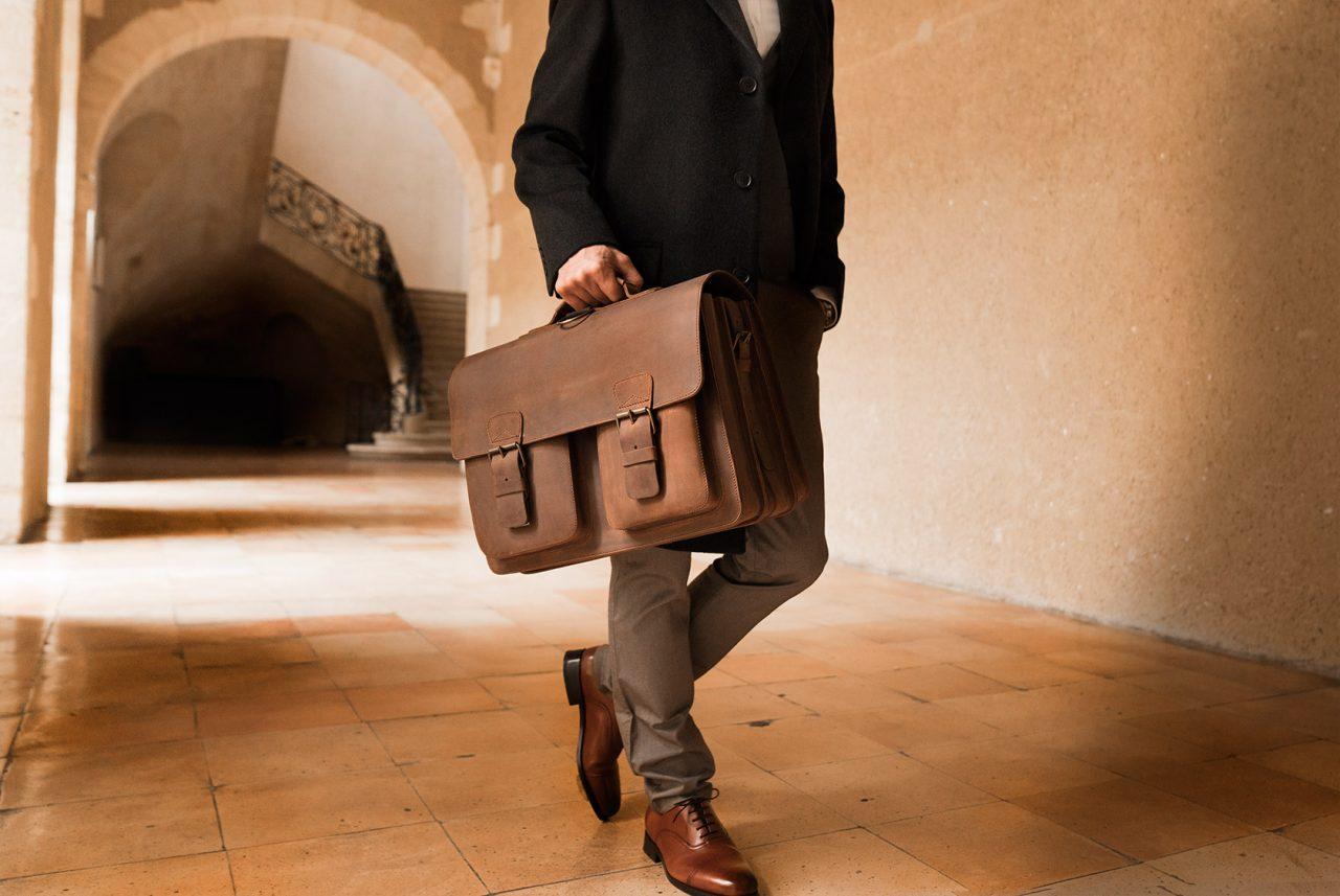 Grand cartable 3 soufflets cuir vintage pour homme.