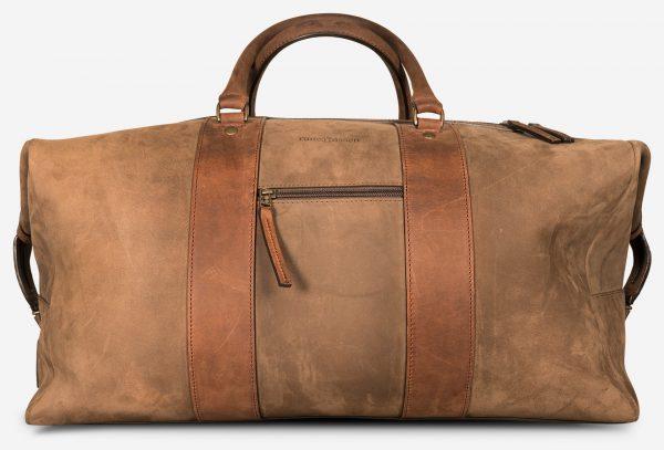 Grand sac de voyage en cuir duffle de face.