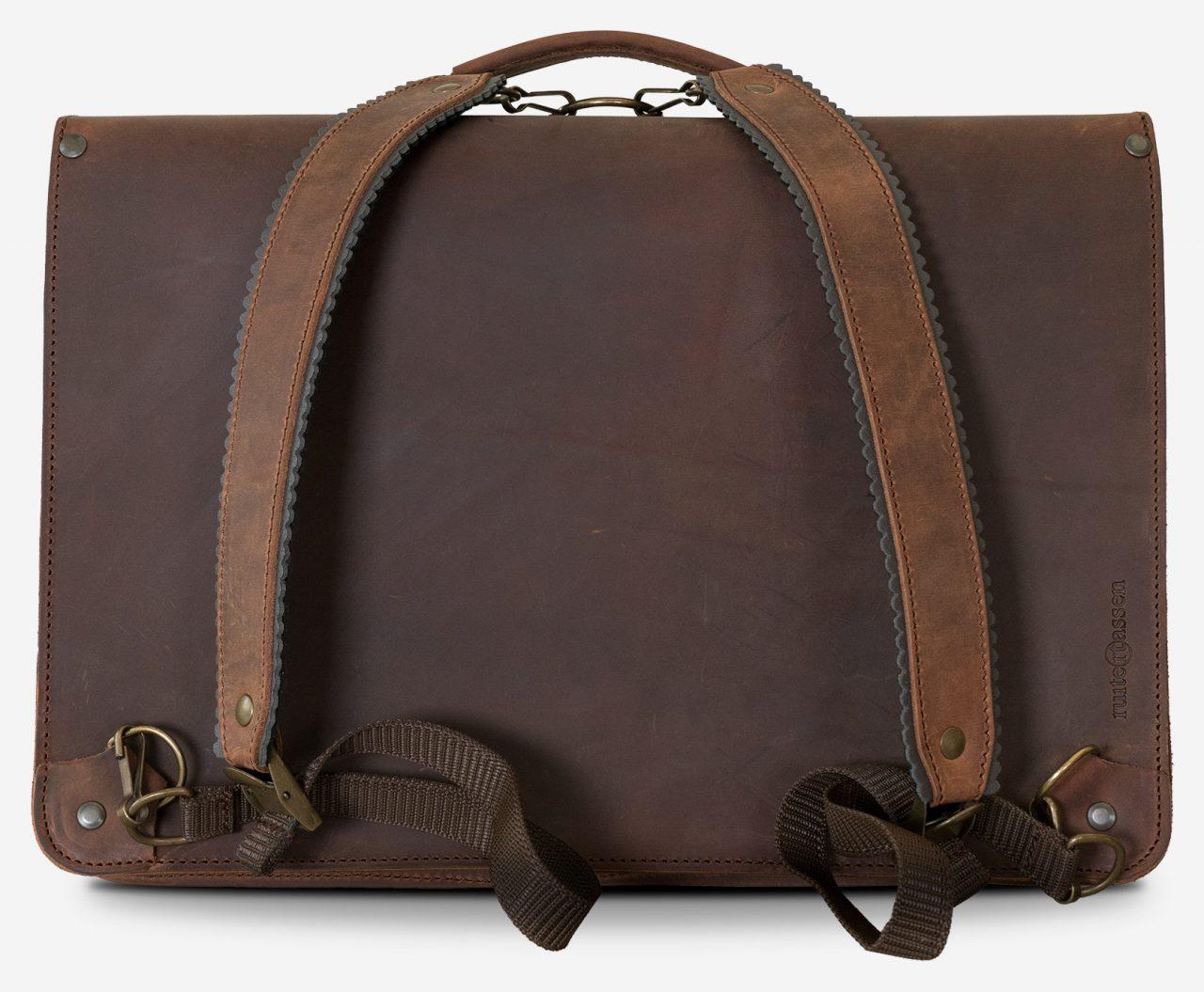 Cartable cuir vintage avec bretelles sac à dos.