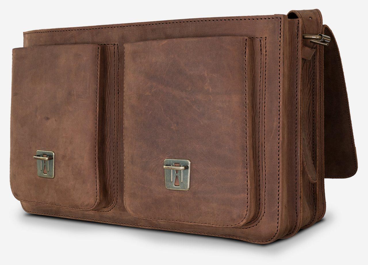 Grand cartable cuir vintage avec poches avant.