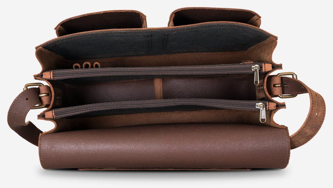 Grand cartable cuir vintage avec 3 compartiments.