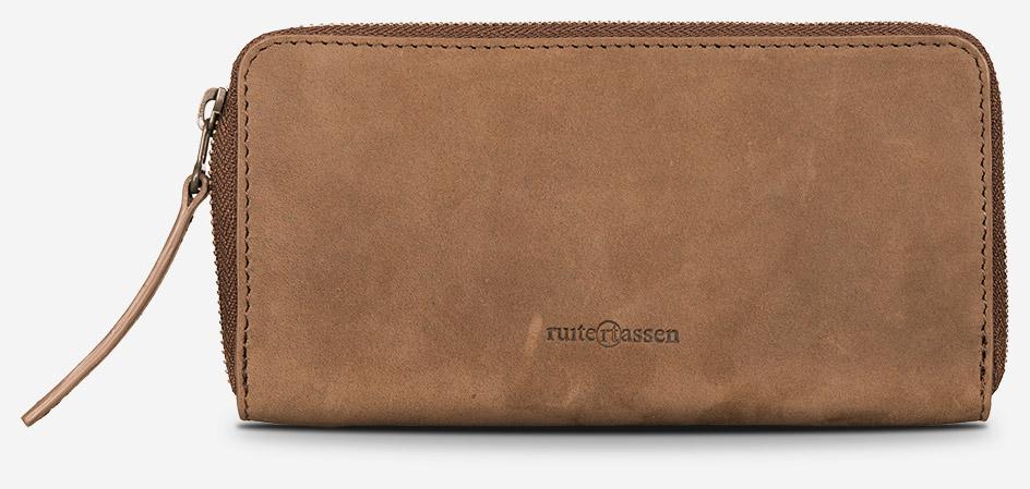 Grand portefeuille zippé en cuir pour homme.