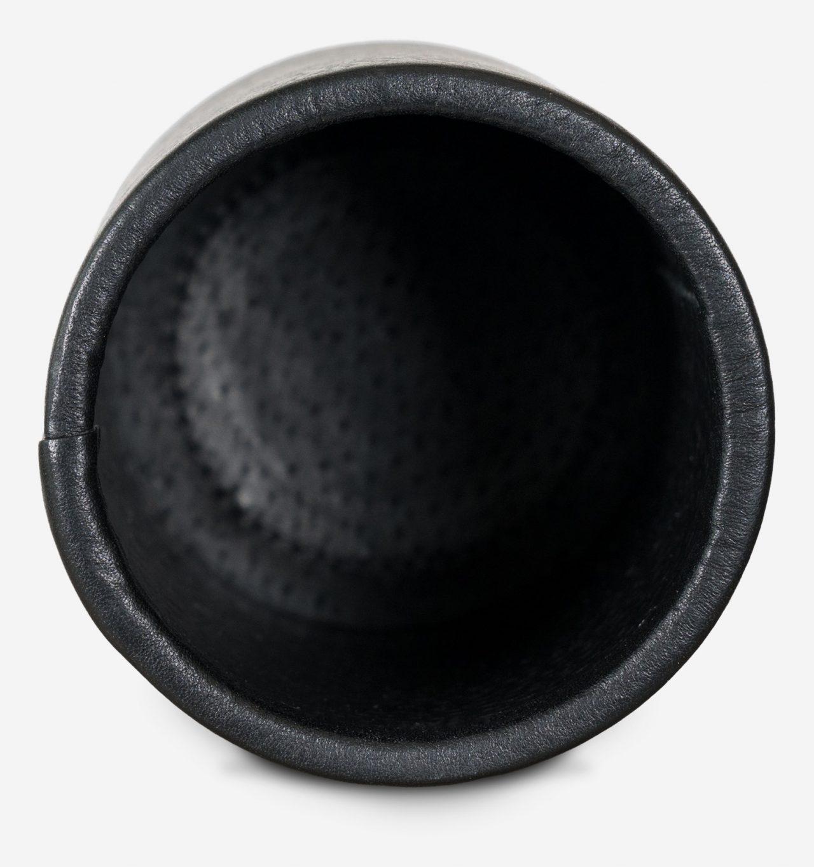 Pot à stylos doublé cuir noir.
