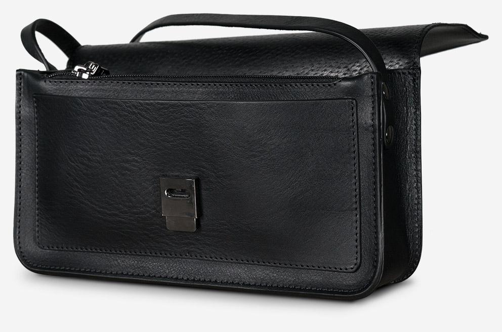 Petit sac cuir noir élégant avec poche avant.