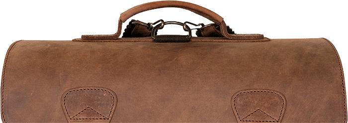 Cartable en cuir vintage marron.