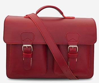 Grand cartable en cuir rouge