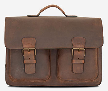 Grand cartable vintage en cuir marron.