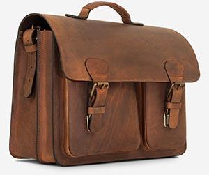 Grand cartable en cuir vintage.