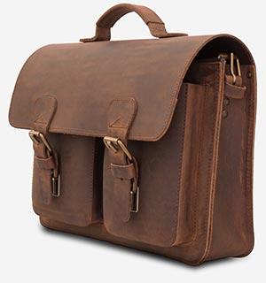 Cartable professeur en cuir marron avec poches avant.